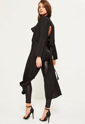 Missguided Black Extreme Split Back Hammered Satin Duster Coat
