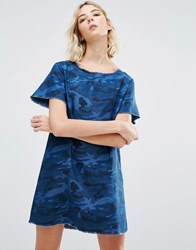 Liquor And Poker Camo Print A Line Denim Dress Blue Camo