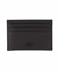 Lacoste Black Leather Embossed Logo Card Wallet