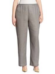 Caroline Rose Linen Straight Leg Pants Shadow