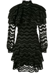 Christian Siriano Zigzag Pattern Dress Black