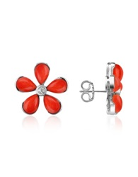 Del Gatto Diamond Gemstone Flower 18K Gold Earrings Red Coral