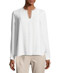Elie Tahari Lilianna Long Sleeve Lace Trim Blouse White