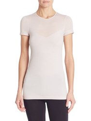 Wolford Opaque Transparent Nature T Shirt Light Lilac Black
