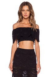 Nightcap Spanish Lace Crop Top Black
