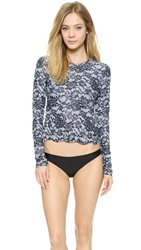 Cover Scallop Long Sleeve Swim Tee Lace Print