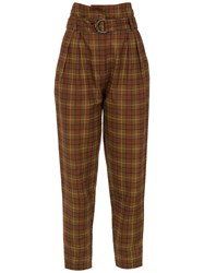Andrea Marques Checked Tapered Trousers Brown