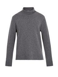 Inis Meain Loose Roll Neck Wool Sweater Grey