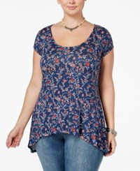 American Rag Trendy Plus Size Printed T Shirt Only At Macy's Dark Denim Combo