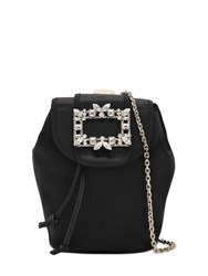 Roger Vivier Trianon Mini Satin Backpack W Crystals Black