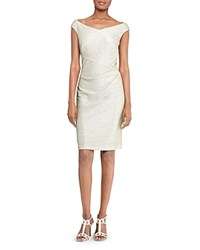 Ralph Lauren Metallic Sheath Dress White Silver Metallic
