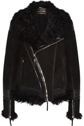 Roberto Cavalli Shearling And Leather Trimmed Suede Jacket Black