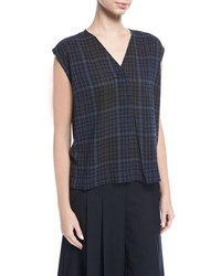 Public School Ela Plaid Sleeveless V Neck Blouse Navy