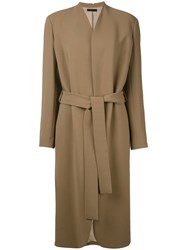 The Row Belted Midi Coat Women Silk Spandex Elastane Viscose S Brown