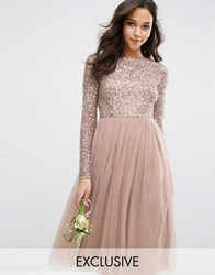 Maya Long Sleeved Midi Dress With Delicate Sequin And Tulle Skirt Mink Brown
