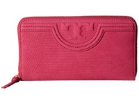 Tory Burch Fleming Snake Zip Continental Wallet Hibiscus Flower Wallet Handbags Pink