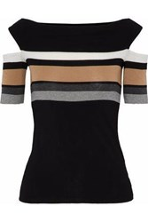 Bailey 44 Cold Shoulder Striped Stretch Jersey Top Black