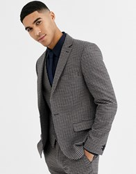 Rudie Heritage Houndstooth Check Skinny Fit Suit Jacket Brown