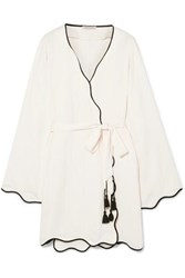 Morgan Lane Annabelle Paneled Crinkled Charmeuse Robe Off White