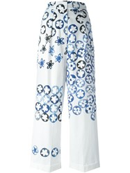 Ports 1961 Painted Effect Floral Print Wide Leg Trousers White