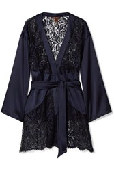 Coco De Mer Athene Lace And Stretch Satin Robe Midnight Blue