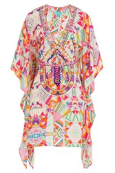 Taj Printed Silk Tunic With Beading Multicolor