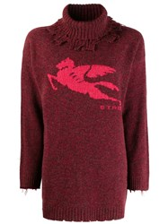Etro Distressed Turtleneck Sweater Red