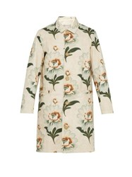 By Walid Lotus Print Single Breasted Cotton Canvas Coat White Multi