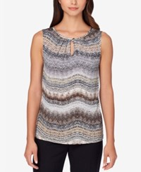 Tahari By Arthur S. Levine Asl Printed Keyhole Top Tan Grey