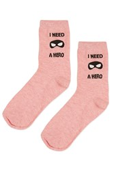 Topshop I Need A Hero Ankle Socks Pink