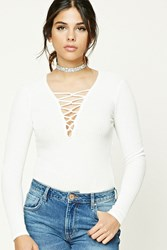Forever 21 Ribbed Plunging Lace Up Top