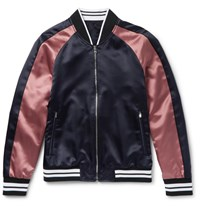 Solid Homme Slim Fit Appliqued Satin Bomber Jacket Navy