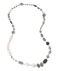 Stephen Dweck Peacock Silver Pearl And Bead Necklace Gray