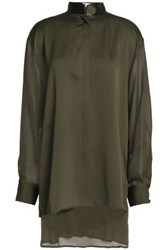 Amanda Wakeley Satin Trimmed Silk Crepe Blouse Army Green