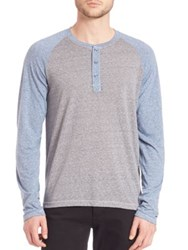 Splendid Mills Raglan Sleeve Colorblock Henley Shirt Grey Blue