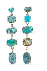 Melissa Joy Manning 14 Karat Gold Sterling Silver And Turquoise Earrings