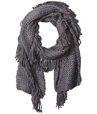 Steve Madden Fringe Benefits Muffler Charcoal Scarves Gray