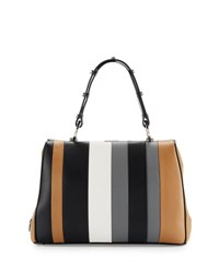Prada Baiadera Striped Leather Satchel Bag Camel Black Gray Caramelo Nero Gris Camel Blk Grey