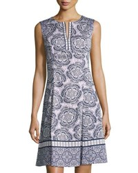 Maggy London Flower Print Fit And Flare Dress Purple White