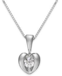 Sirena Diamond Heart Pendant Necklace In 14K White Gold 1 10 Ct. T.W.