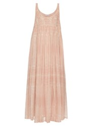 Raey Smocked Silk Georgette Cami Dress Pink