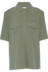 Equipment Major Washed Silk Top Green