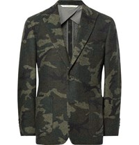 Freemans Sporting Club Havana Slim Fit Unstructured Camouflage Wool Blend Jacquard Blazer Army Green