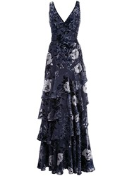 Marchesa Notte Floral Tiered Gown 60
