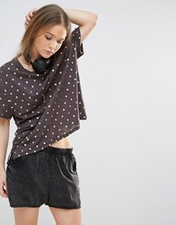 Sundry Foil Spot Cotton Tee Old Black Brown
