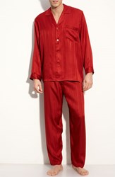 Men's Majestic International Herringbone Stripe Silk Pajamas Mahogany