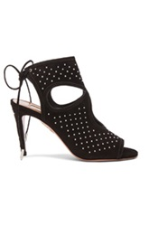Aquazzura Studded Sexy Thing Suede Heels In Black