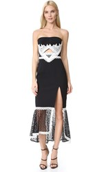 Jonathan Simkhai Windowpane Lace Cutout Slit Dress Black White