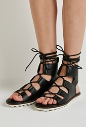 Forever 21 Faux Leather Lace Up Gladiator Sandals Black