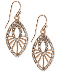 2028 Rose Gold Tone Openwork Pave Drop Earrings